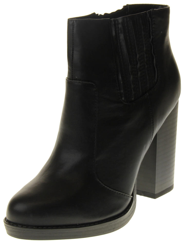 Womens Ladies Betsy Faux Leather Block Heeled Ankle Boots