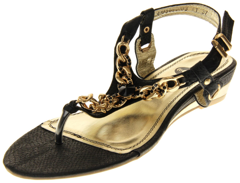 Womens Ladies Betsy Synthetic Leather Small Wedge Sandals