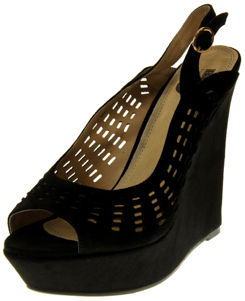 Womens Ladies Betsy Faux Suede Leather Cut Out Design Wedged  Sandals