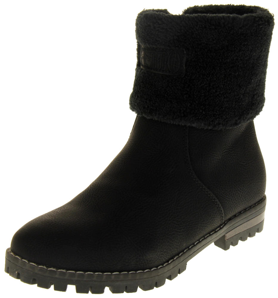 Womens Ladies Keddo Faux Nubuck Leather Faux Fur Ankle Boots