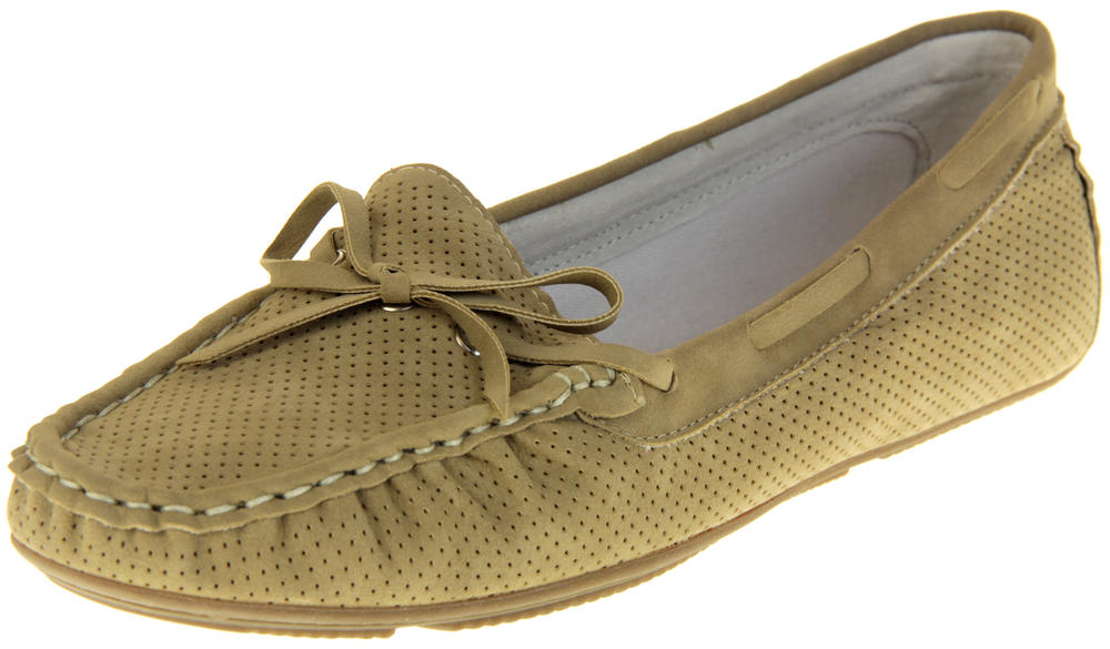 Womens Ladies Keddo Leather Bow Design Boat Shoes