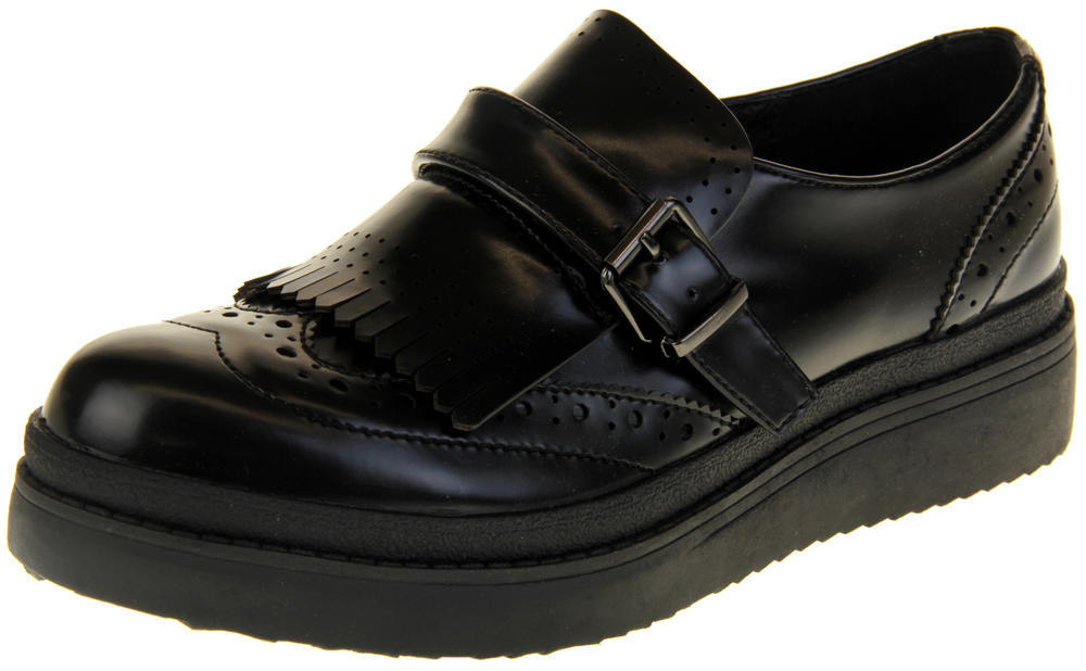Womens Ladies Betsy Faux Leather Brogue Design Fringed Loafers
