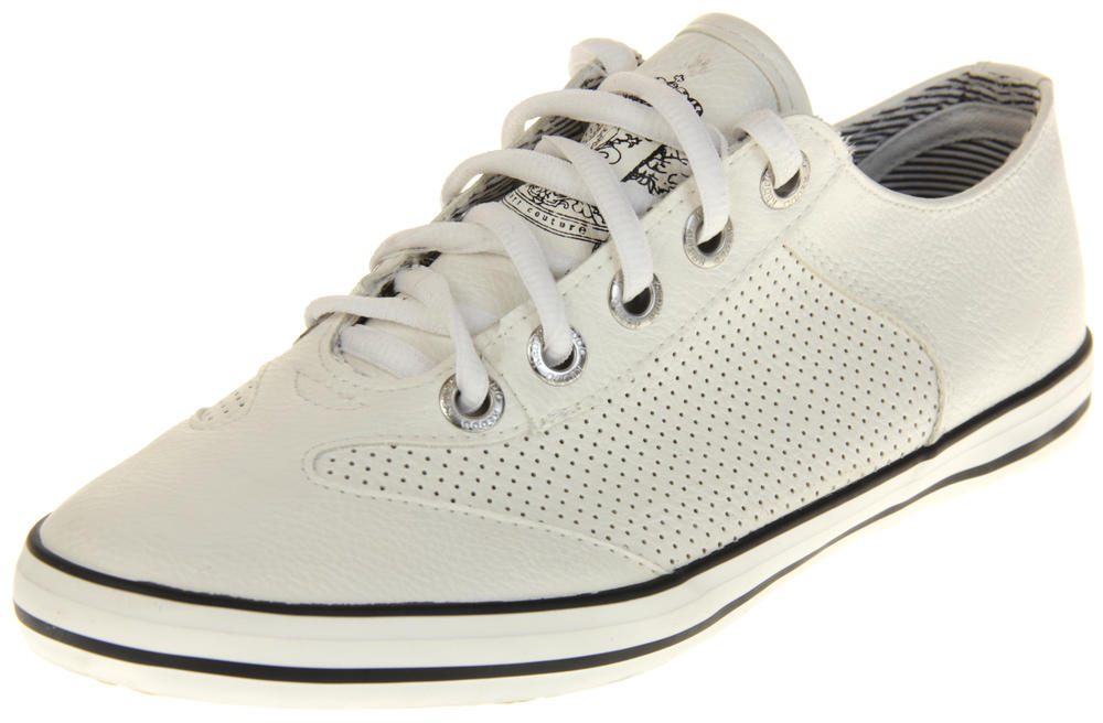 Womens Ladies Keddo White Faux Leather Casual Trainer Pumps