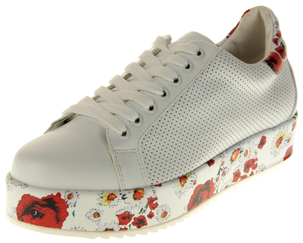 Womens Ladies Keddo Faux Leather Platfrom Trainers