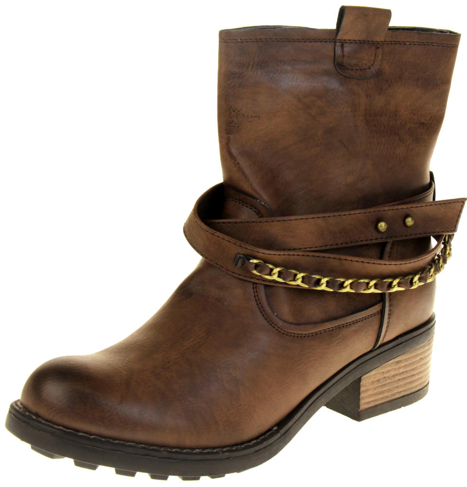 Womens Ladies Betsy Faux Leather Ankle Boots