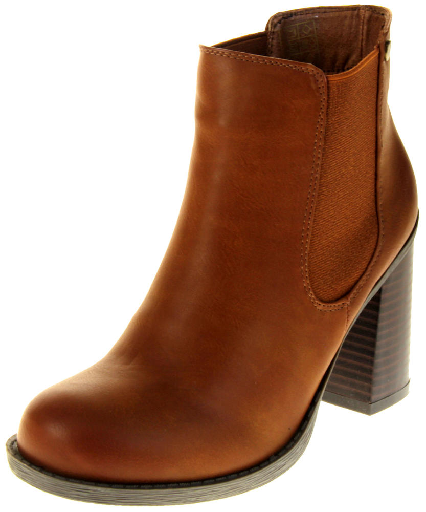 Womens Ladies Faux Leather Block Heel Ankle Boots