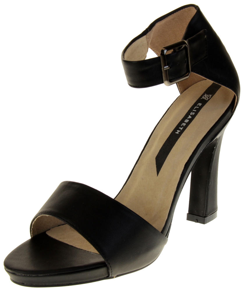 Womens Ladies Elisabeth Black Faux Leather High Heels
