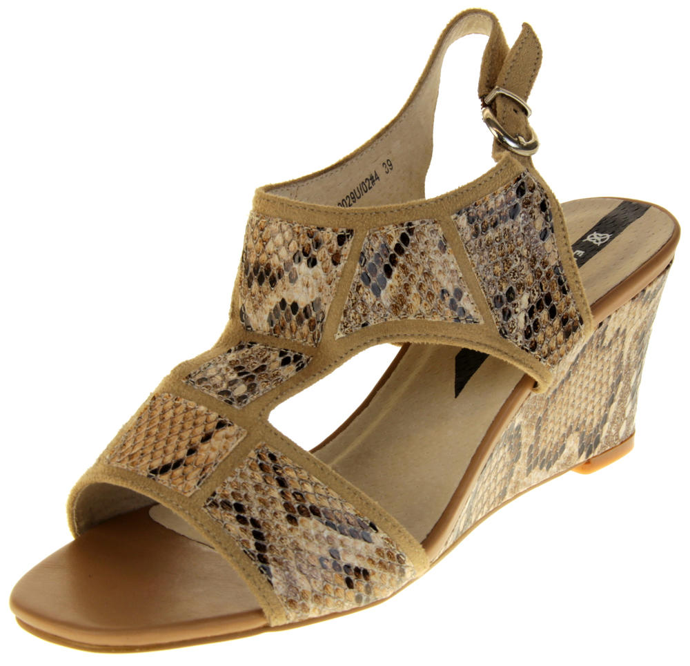 Womens Ladies Elisabeth Faux Leather Leopard Print Wedged Sandals
