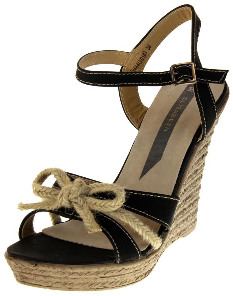 Womens Ladies Elisabeth Bow Design Wedged Fashion Sandals