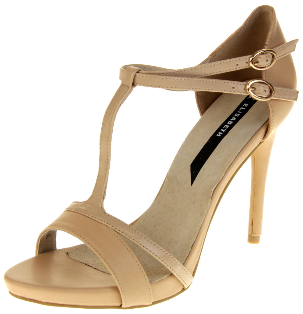 Womens Ladies Elisabeth Faux Leather Strappy High Heels