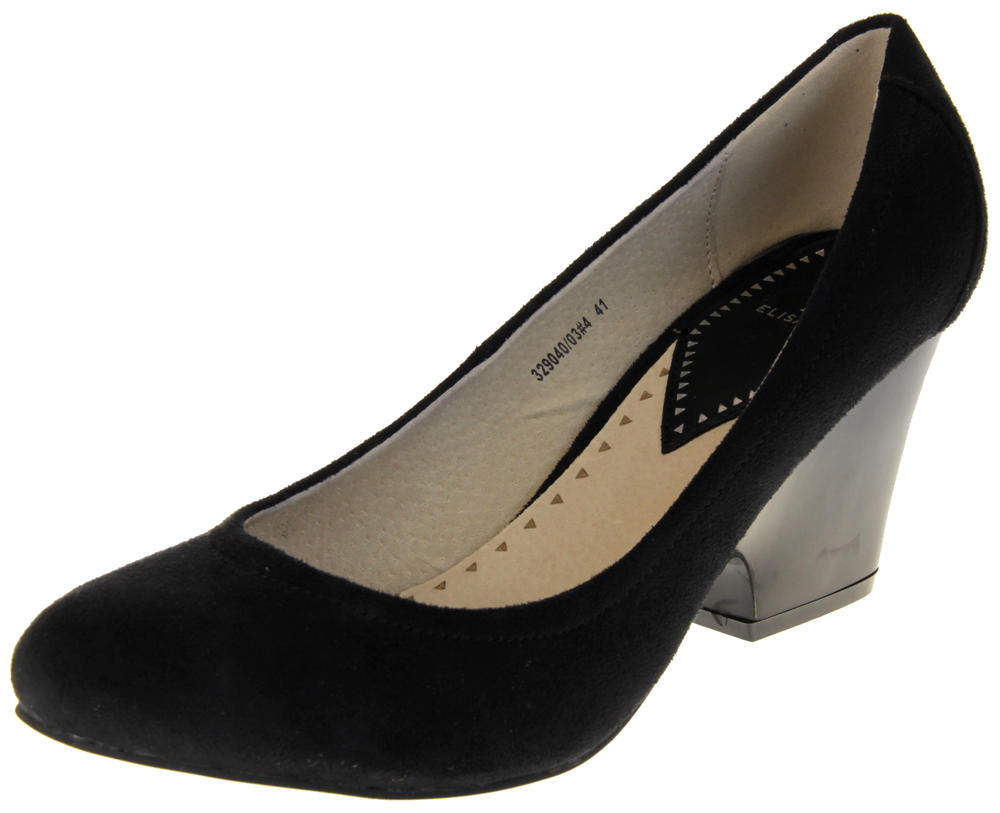 Womens Ladies Elisabeth Faux Suede Leather High Heeled Court Shoes