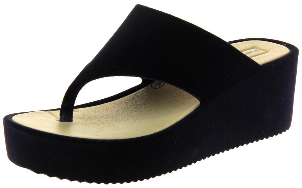 Womens Ladies Dunlop Velvet Platform Wedged Sandals