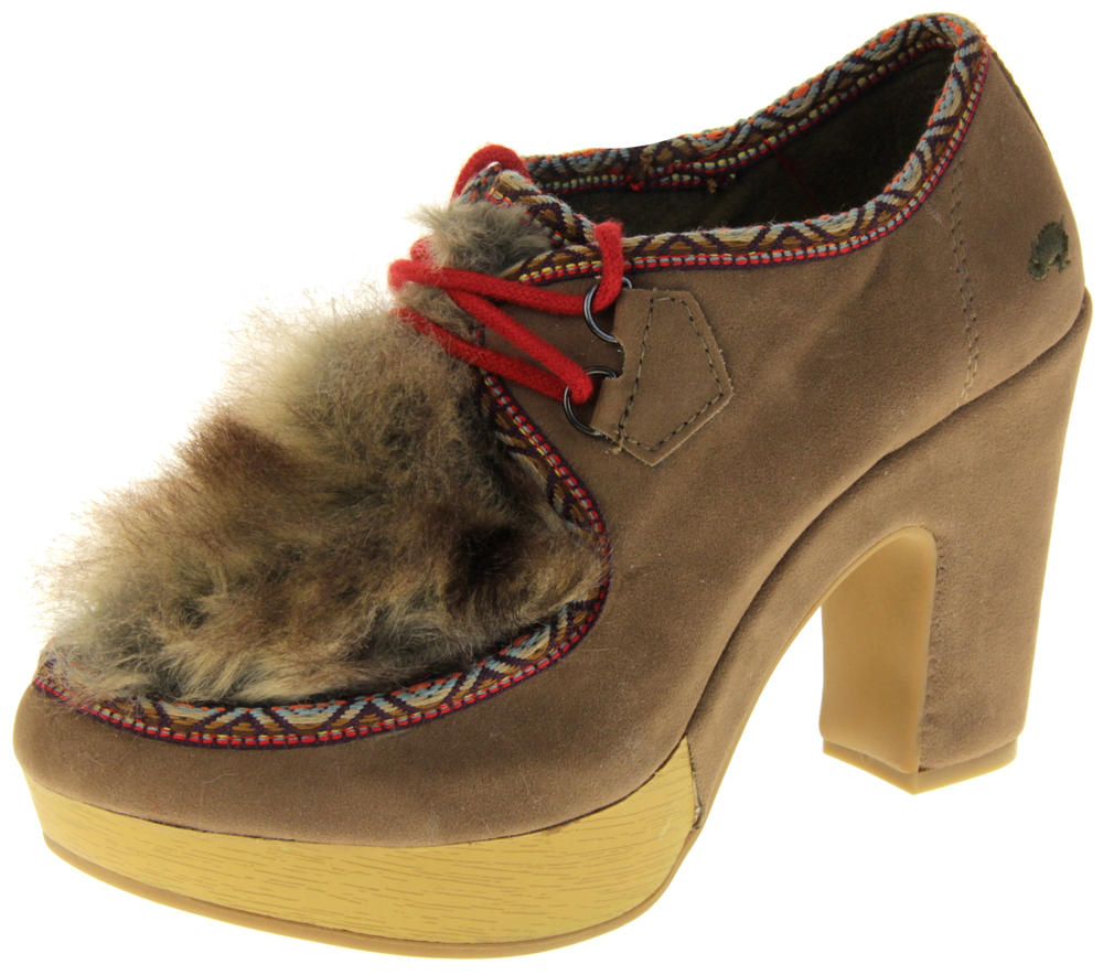 Womens Ladies Rocket Dog Faux Suede Leather Faux Fur High Heels
