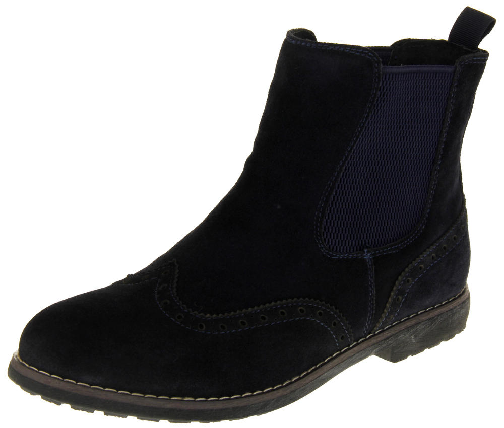 Womens Ladies Keddo Faux Suede Leather Brogue Design Ankle Boots