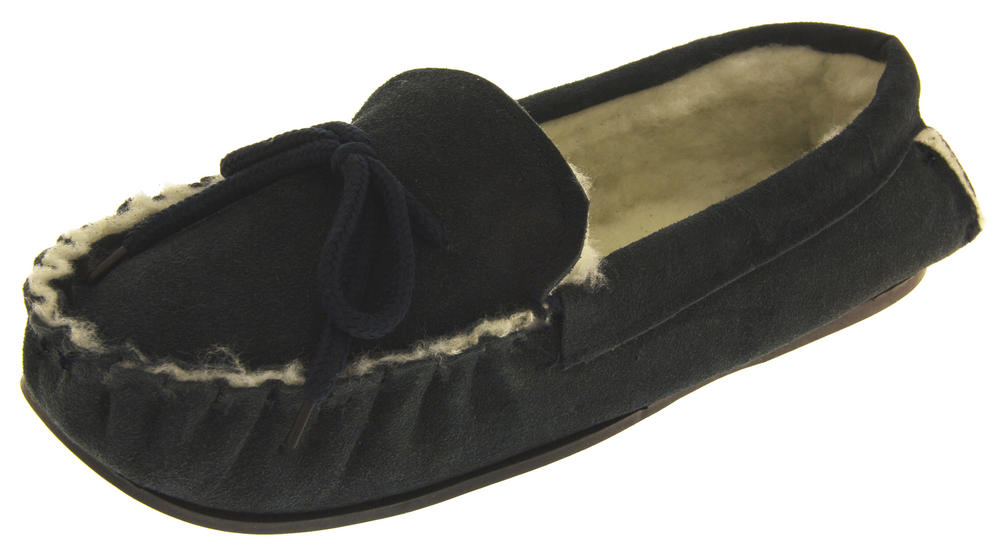 Mens Lodgemok Suede Leather Real Wool Moccasins Shoe Slippers