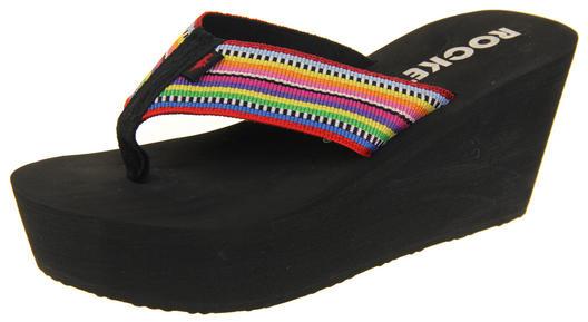 Womens Rocket Dog Platform Mules Toe Post Wedge Heels Sandals Shoes