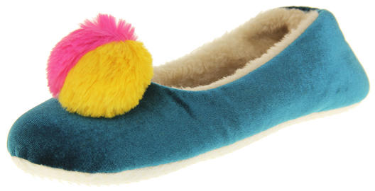 Womens Ladies Dunlop Winter Synthetic Fur Comfort Warm Pom Pom Slippers