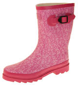 Womens Floral Calf Length Rubber Festival Wellington Boots