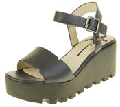 Womens Ladies Betsy Leather Summer Platform Shoes Wedge Heel Sandals Thumbnail 1