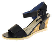 Womens Ladies Elisabeth Leather  Strappy Platform Shoes High Heel Wedge Sandals Thumbnail 1