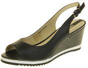 Womens Ladies Betsy Leather High Heel Peep-Toe Wedged Buckle Fastening Sandals Thumbnail 1