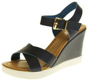 Womens Ladies Betsy Faux Leather Peep-Toe Wedge High Heel Strappy Sandals Thumbnail 1
