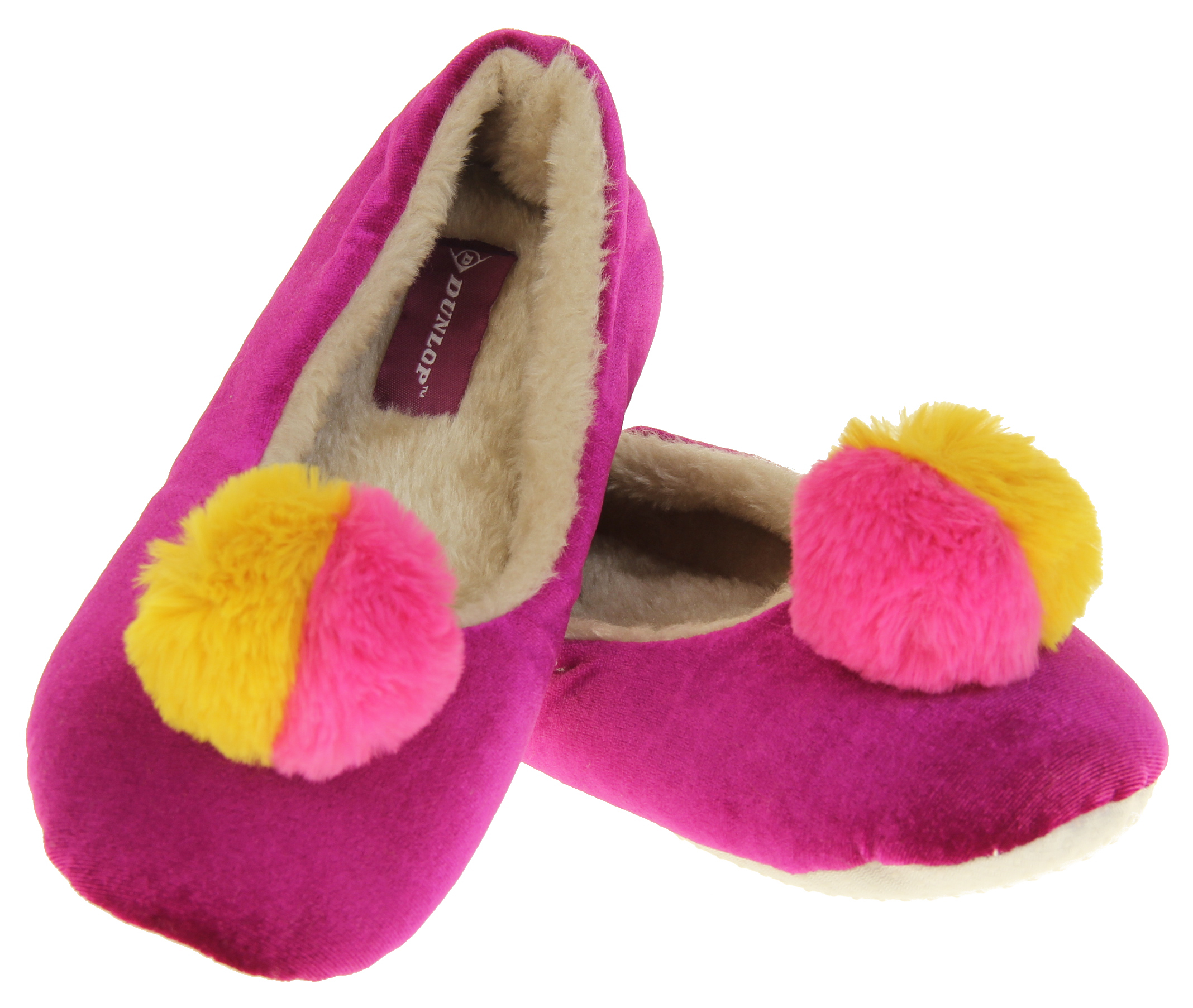 Womens Ladies Dunlop Winter Synthetic Fur Comfort Warm Pom Pom Slippers Thumbnail 11