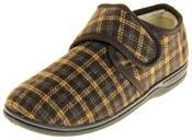Mens Four Seasons Fleece Lined Checkered Design Slipper Shoes Thumbnail 1