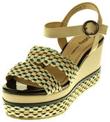 Womens Ladies Betsy Faux Leather Wedge Sandals Thumbnail 1