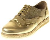 Womens Ladies Betsy Gold Faux Leather Brogue Style Loafers Thumbnail 1