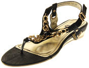 Womens Ladies Betsy Synthetic Leather Small Wedge Sandals Thumbnail 1