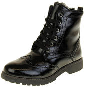Womens Ladies Faux Patent Leather Ankle Boots Thumbnail 1