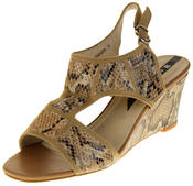 Womens Ladies Elisabeth Faux Leather Leopard Print Wedged Sandals Thumbnail 1