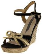 Womens Ladies Elisabeth Bow Design Wedged Fashion Sandals Thumbnail 1