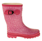 Womens Floral Calf Length Rubber Festival Wellington Boots Thumbnail 5
