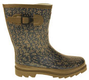 Womens Floral Calf Length Rubber Festival Wellington Boots Thumbnail 8