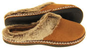 Womens COOLERS Faux Fur Lined Faux Suede Warm Mule Slippers Thumbnail 10