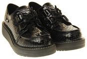 Womens Flat Black, Cream Creeper Style Lace Up Shoes Thumbnail 10
