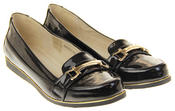 Womens Ladies Betsy Synthetic Patent Leather Flat Slip On Office Work School Loafers Thumbnail 5