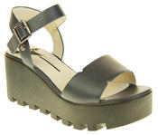 Womens Ladies Betsy Leather Summer Platform Shoes Wedge Heel Sandals Thumbnail 2