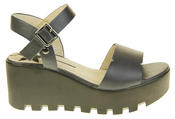 Womens Ladies Betsy Leather Summer Platform Shoes Wedge Heel Sandals Thumbnail 3
