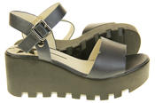 Womens Ladies Betsy Leather Summer Platform Shoes Wedge Heel Sandals Thumbnail 4
