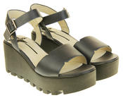 Womens Ladies Betsy Leather Summer Platform Shoes Wedge Heel Sandals Thumbnail 5