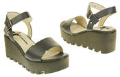Womens Ladies Betsy Leather Summer Platform Shoes Wedge Heel Sandals Thumbnail 6