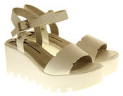 Womens Ladies Betsy Leather Summer Platform Shoes Wedge Heel Sandals Thumbnail 10