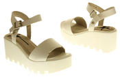 Womens Ladies Betsy Leather Summer Platform Shoes Wedge Heel Sandals Thumbnail 11