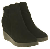 Womens Betsy Suede Leather Hidden Wedge Ankle Boots Thumbnail 5