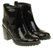 Womens Ladies Betsy Synthetic Leather Brogue Style Black Ankle Boots Thumbnail 10