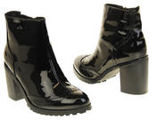 Womens Ladies Betsy Synthetic Leather Brogue Style Black Ankle Boots Thumbnail 11