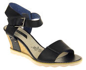 Womens Ladies Elisabeth Leather  Strappy Platform Shoes High Heel Wedge Sandals Thumbnail 2